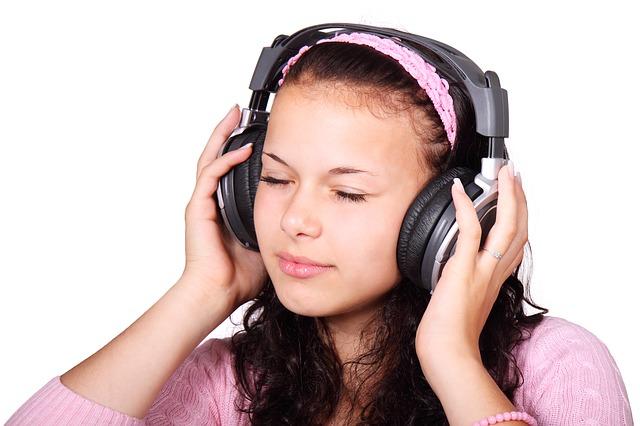 Girl listening to music.