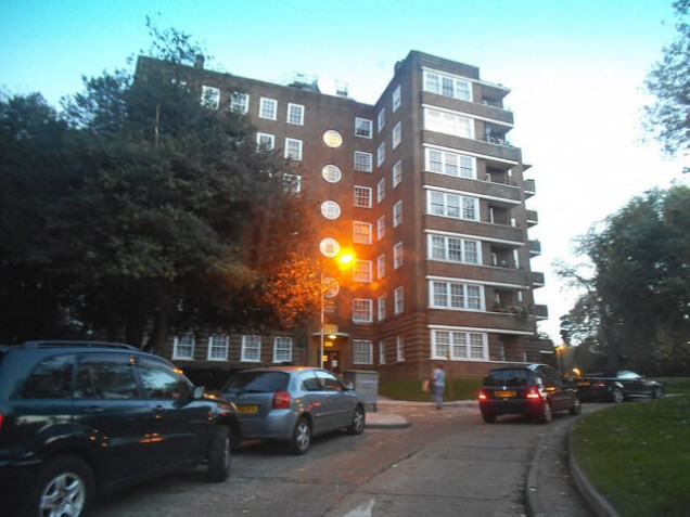 Block of flats in London, UK.